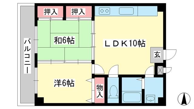 物件番号: 1025883841 ウィゴーしのはら  神戸市灘区篠原南町5丁目 2LDK マンション 間取り図