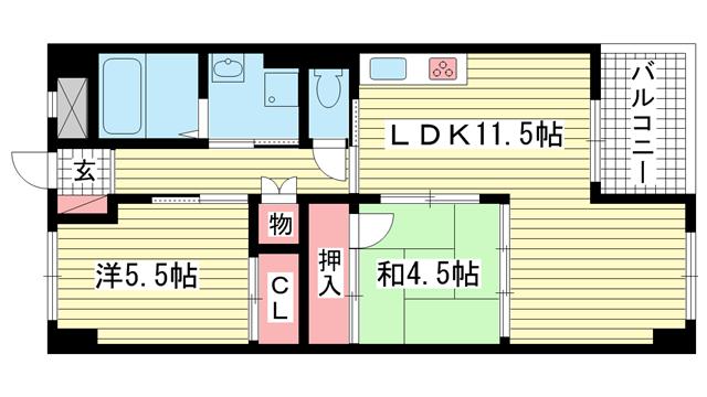 物件番号: 1025883843 中山手コーポ  神戸市中央区中山手通2丁目 2LDK マンション 間取り図