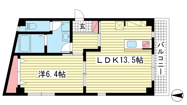 物件番号: 1025883845 キャメロンプレイス中山手通  神戸市中央区中山手通2丁目 1LDK マンション 間取り図