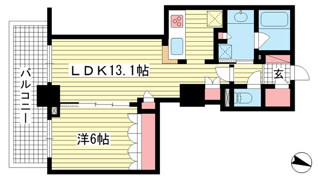 物件番号: 1025883846 ブリリアタワー神戸元町  神戸市中央区下山手通5丁目 1LDK マンション 間取り図