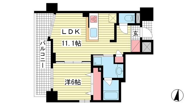 物件番号: 1025883847 ワコーレ新神戸マスターズレジデンス  神戸市中央区熊内町4丁目 1LDK マンション 間取り図