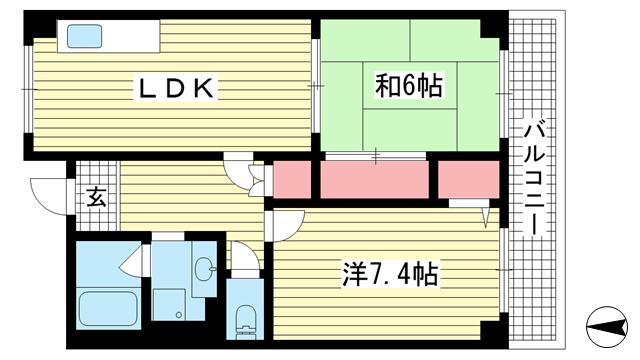 物件番号: 1025883851 オーシャンビュー神戸  神戸市兵庫区西上橘通1丁目 2LDK マンション 間取り図