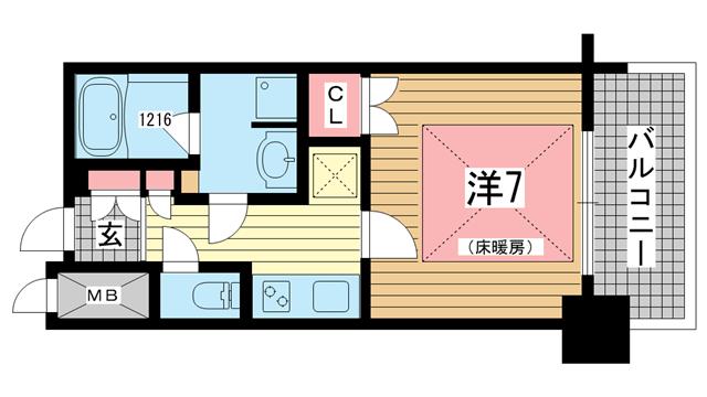 物件番号: 1025883854 トア山手フラッツ  神戸市中央区下山手通3丁目 1K マンション 間取り図