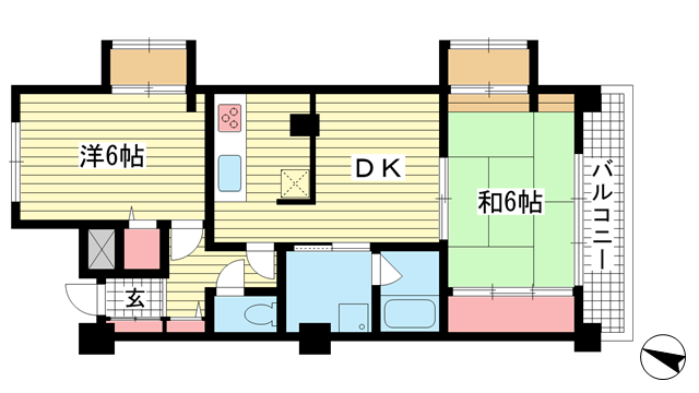 物件番号: 1025883861 アプリーレ北青木  神戸市東灘区北青木2丁目 2LDK マンション 間取り図