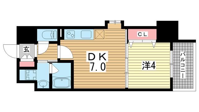 物件番号: 1025883862 クリエイトビュー三宮磯上公園  神戸市中央区磯辺通2丁目 1DK マンション 間取り図