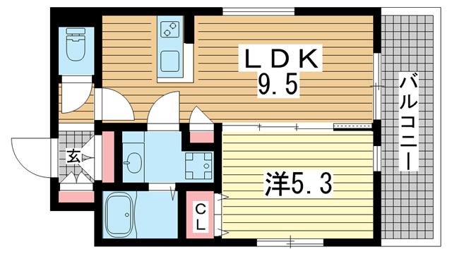 物件番号: 1025883873 ワコーレルーミ東川崎  神戸市中央区東川崎町6丁目 1LDK アパート 間取り図