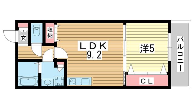 物件番号: 1025883877 ワコーレルーミ東川崎  神戸市中央区東川崎町6丁目 1LDK アパート 間取り図