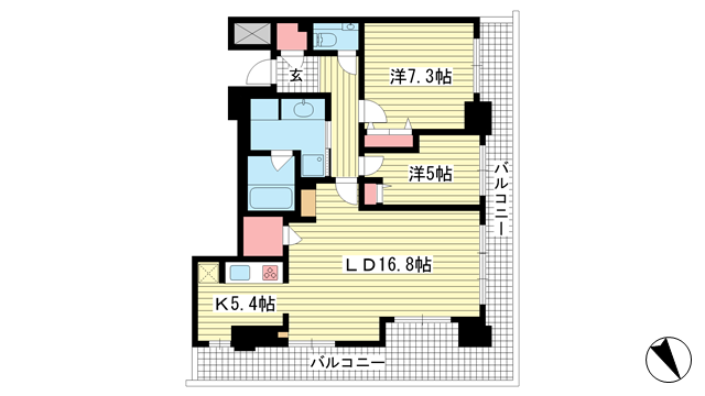 物件番号: 1025883878 神戸ハーバータワー  神戸市中央区海岸通6丁目 3LDK マンション 間取り図