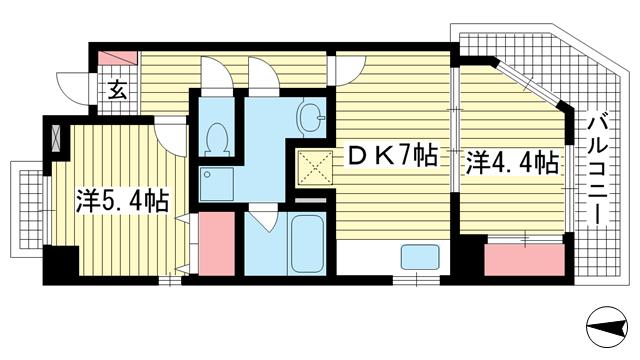 物件番号: 1025883879 KOBE十一屋  神戸市灘区篠原本町3丁目 2DK マンション 間取り図