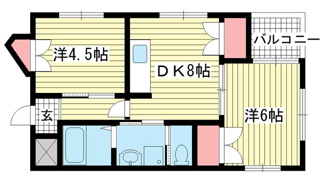 物件番号: 1025883880 エーデルハイム藤井  神戸市兵庫区上沢通6丁目 2DK マンション 間取り図