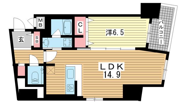 物件番号: 1025883881 ファルマシアントアロード  神戸市中央区下山手通3丁目 1LDK マンション 間取り図