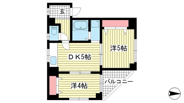 物件番号: 1025883882 ヴィラ中道  神戸市兵庫区中道通3丁目 2DK マンション 間取り図