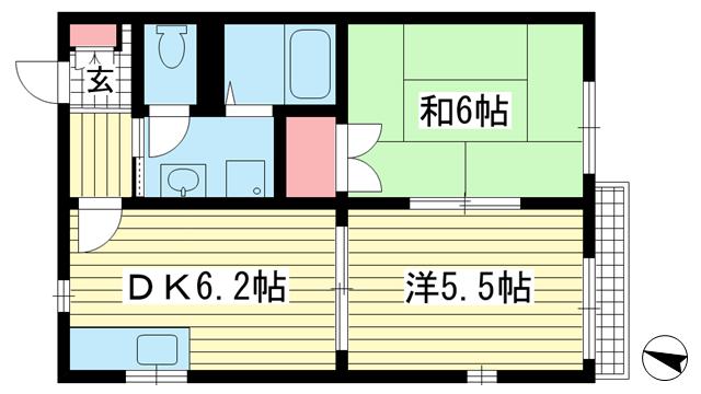 物件番号: 1025883883 グレースハイツ  神戸市兵庫区中道通9丁目 2DK ハイツ 間取り図