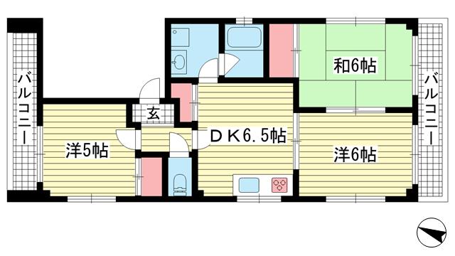 物件番号: 1025883884 五代松本ビル  神戸市兵庫区松本通6丁目 3DK マンション 間取り図