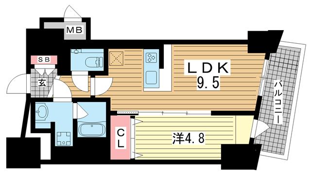 物件番号: 1025883886 ファルマシアントアロード  神戸市中央区下山手通3丁目 1LDK マンション 間取り図