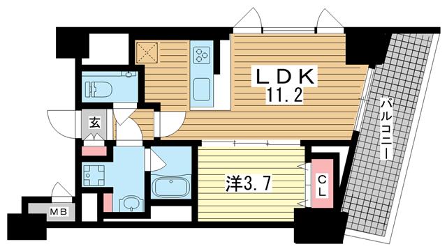 物件番号: 1025883890 ファルマシアントアロード  神戸市中央区下山手通3丁目 1LDK マンション 間取り図