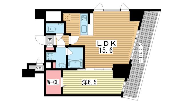 物件番号: 1025883891 ファルマシアントアロード  神戸市中央区下山手通3丁目 1LDK マンション 間取り図