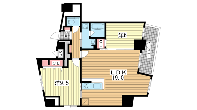 物件番号: 1025883892 ファルマシアントアロード  神戸市中央区下山手通3丁目 2LDK マンション 間取り図