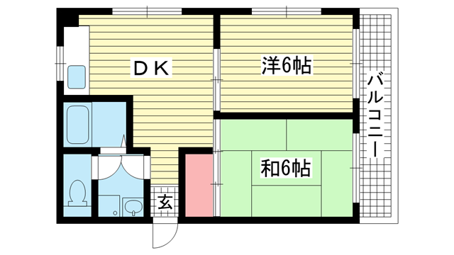 物件番号: 1025883897 ファミール兵庫  神戸市兵庫区下沢通5丁目 2LDK マンション 間取り図