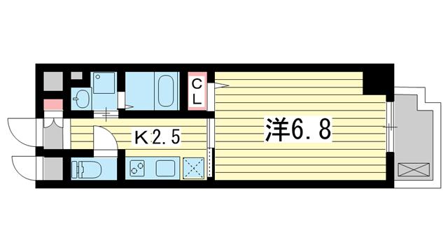 物件番号: 1025883898  神戸市中央区割塚通2丁目 1K マンション 間取り図