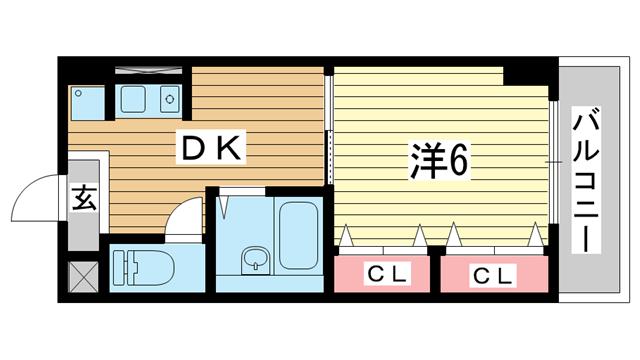 物件番号: 1025883904 ハーバーズコート  神戸市兵庫区佐比江町 1DK マンション 間取り図