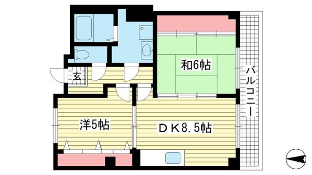物件番号: 1025883908 上沢壱番館  神戸市兵庫区上沢通6丁目 2DK マンション 間取り図
