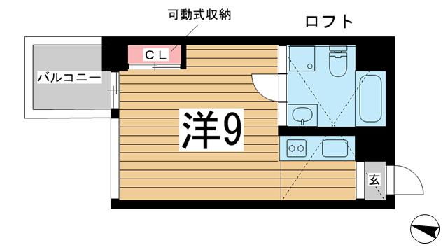 物件番号: 1025883911 East Village SANNOMIYA  神戸市中央区琴ノ緒町4丁目 1R マンション 間取り図
