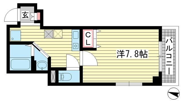 物件番号: 1025883916  神戸市中央区中山手通2丁目 1K マンション 間取り図