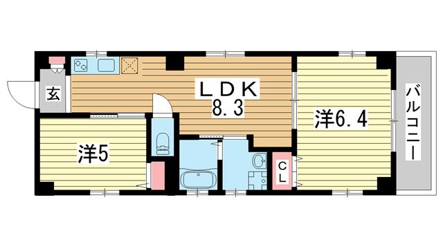 物件番号: 1025883921 宝ビル  神戸市中央区日暮通1丁目 2LDK マンション 間取り図