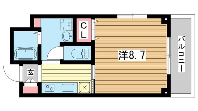 物件番号: 1025883922 宝ビル  神戸市中央区日暮通1丁目 1K マンション 間取り図