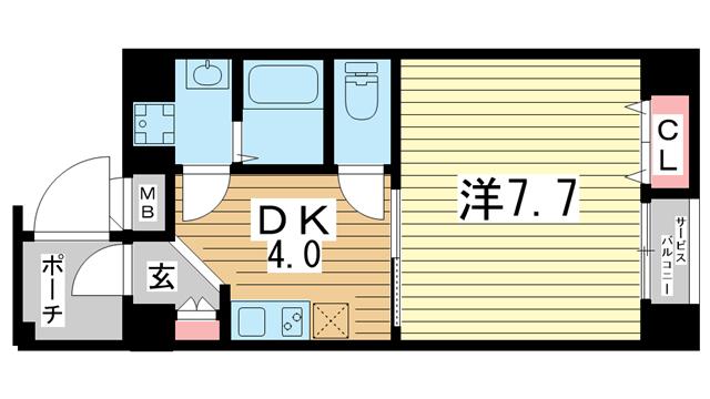 物件番号: 1025883934 第二リーフハイツ  神戸市中央区日暮通1丁目 1DK マンション 間取り図