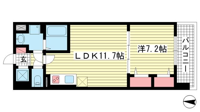 物件番号: 1025883938 カサ アレグリア  神戸市兵庫区御崎本町1丁目 1LDK マンション 間取り図