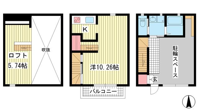 物件番号: 1025883939 パロスGT塩屋  神戸市垂水区塩屋町5丁目 1SK マンション 間取り図