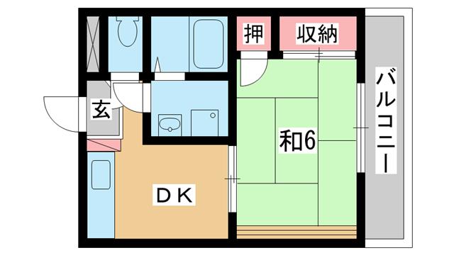 物件番号: 1025883943 メゾン楠々  神戸市中央区楠町1丁目 1DK マンション 間取り図