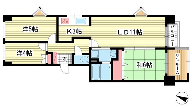物件番号: 1025883945 三宮東ハイツ  神戸市中央区二宮町1丁目 3LDK マンション 間取り図