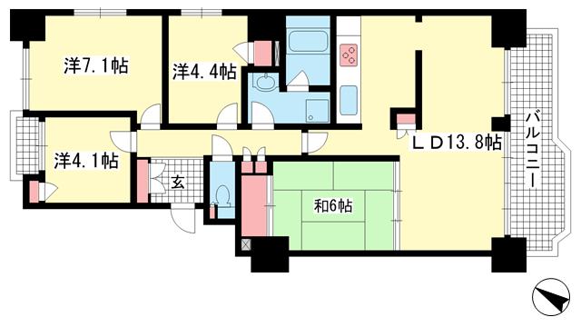 物件番号: 1025883947 ポートピアプラザB棟  神戸市中央区港島中町6丁目 4LDK マンション 間取り図