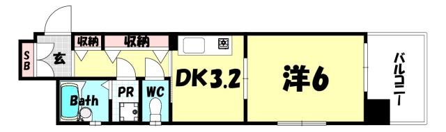 物件番号: 1025883948 プレサンス新神戸  神戸市中央区布引町2丁目 1DK マンション 間取り図