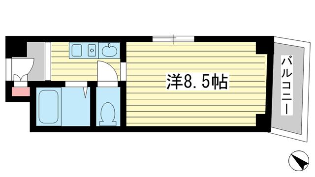 物件番号: 1025883951  神戸市中央区海岸通5丁目 1K マンション 間取り図