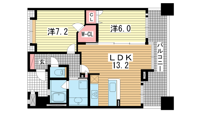 物件番号: 1025883952  神戸市中央区布引町2丁目 2LDK マンション 間取り図