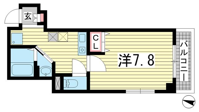 物件番号: 1025883958  神戸市中央区中山手通2丁目 1K マンション 間取り図
