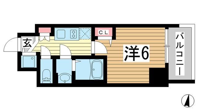 物件番号: 1025883967 プレサンス三宮エレガンシア  神戸市中央区琴ノ緒町1丁目 1K マンション 間取り図