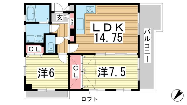 物件番号: 1025883990 リブコート中山手通  神戸市中央区中山手通4丁目 2LDK マンション 間取り図