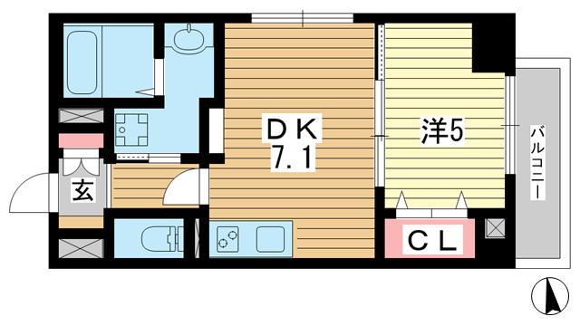 物件番号: 1025883997 JEUNESSE北野  神戸市中央区加納町2丁目 1DK マンション 間取り図
