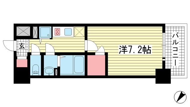 物件番号: 1025883999 エスリード神戸レジデンス  神戸市中央区橘通4丁目 1K マンション 間取り図