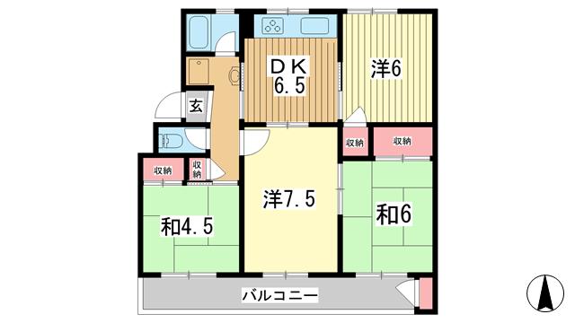 物件番号: 1025884020 ひよどり台1団地5号棟  神戸市北区ひよどり台3丁目 4DK マンション 間取り図