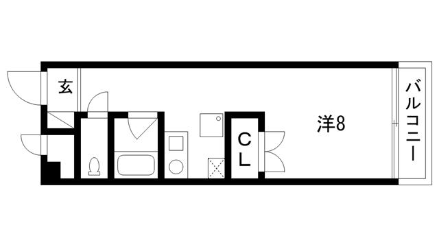 物件番号: 1025884029 グランドール湊川  神戸市兵庫区湊川町6丁目 1K マンション 間取り図
