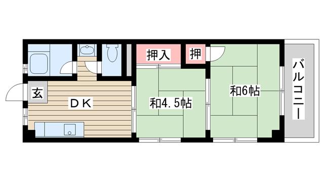 物件番号: 1025884039 酒井マンション  神戸市中央区上筒井通6丁目 2DK マンション 間取り図