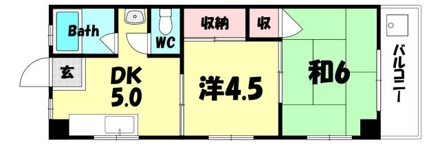 物件番号: 1025884040 酒井マンション  神戸市中央区上筒井通6丁目 2DK マンション 間取り図
