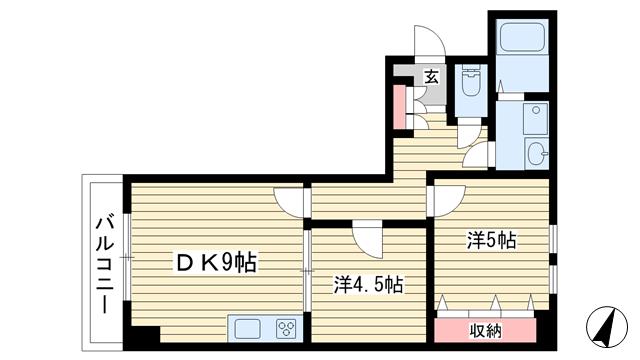 物件番号: 1025884042 アルカディア三宮  神戸市中央区小野柄通3丁目 2DK マンション 間取り図