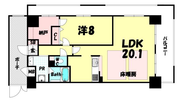 物件番号: 1025884045 ローレル・トアスクエア  神戸市中央区中山手通2丁目 1SLDK マンション 間取り図